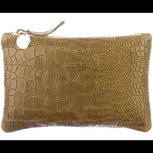 NWT olive green Clare Vivier clutch